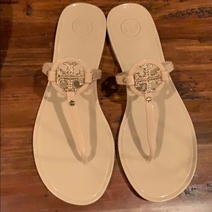 Tory Burch blush jelly thong sandal with crystals